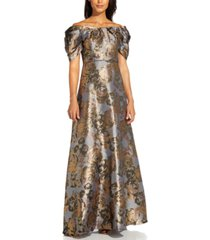 adrianna papell puff-sleeve gown