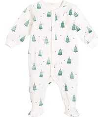 infant boy's petit lem christmas tree fitted one-piece footie pajamas