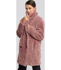 na-kd long teddy coat - pink