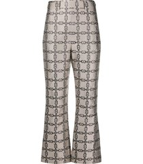 tory burch gemini link print lurex trousers - grey