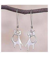sterling silver dangle earrings, 'flirty kitties' (peru)