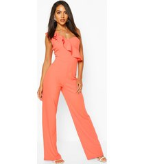 one shoulder ruffle hem jumpsuit, coral