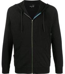paul smith raglan-sleeve zipped hoodie - black
