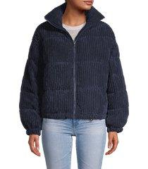 vigoss women's corduroy puffer jacket - navy - size l