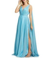 mac duggal women's grecian chiffon gown - sky blue - size 16