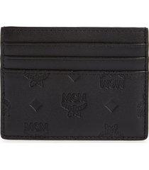 mcm klara leather card case with money clip in black at nordstrom