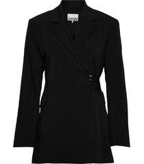 melange suiting blazers casual blazers svart ganni