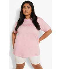 plus geborduurd california t-shirt, pink
