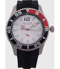 reloj negro-plateado-rojo nautica