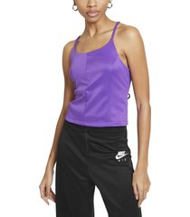 nike sportswear icon clash tie back tank, size large in wild berry/purple stardust at nordstrom
