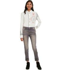 pantalón desigual gris - calce ajustado
