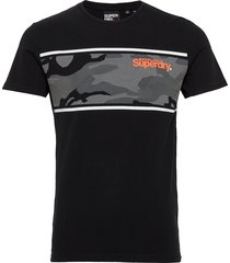 core logo camo stripe tee t-shirts short-sleeved svart superdry