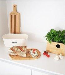 chlebak z deską do krojenia biały