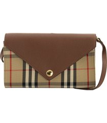 burberry hanna vintage check and leather wallet with detachable strap