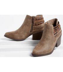 maurices womens april braid wrap ankle bootie brown
