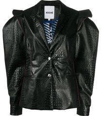 koché statement shoulder crocodile effect jacket - black
