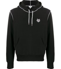 kenzo overlocked stitched hoodie - black