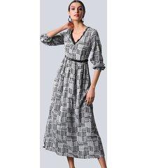 jurk alba moda offwhite::zwart