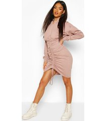 hooded rouched front sweatshirt dress, rose