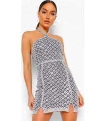 mini jurk met halterneck en kraaltjes, silver