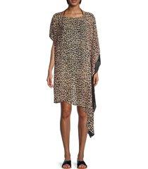 dkny women's leopard-print asymmetrical dress - suntan - size s/m