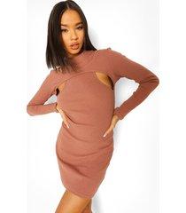 geribbelde mini jurk met uitsnijding en hoge hals, taupe