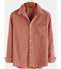 hombres vendimia pana lavada classic collar camisa