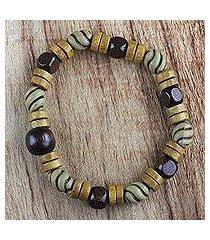 wood beaded stretch bracelet, 'woodland splendor' (ghana)