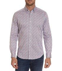robert graham men's medina tailored-fit geometric print sport shirt - size xl