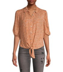 free people women's celia printed tie-front blouse - fatigue combo - size m