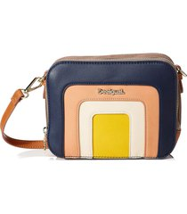 bolsa tiracolo desigual color block azul/bege