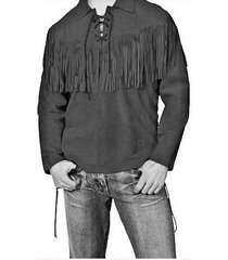 men traditional western suede leather man black shirt with fringes jacket