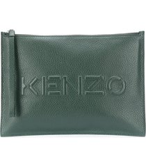 kenzo zip-up leather clutch bag - green