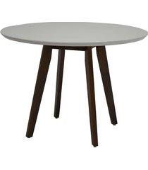 mesa redonda delazari 925, com tampo de vidro, imbuia, 109 cm