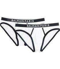 balmain slip logo lingerie in white cotton