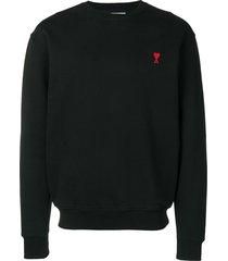 ami crew neck sweatshirt with red ami de coeur patch - black