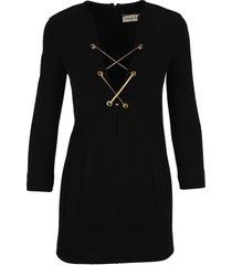 saint laurent lace up mini dress in wool jersey