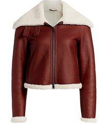theory women's shearling moto jacket - sedona - size xs