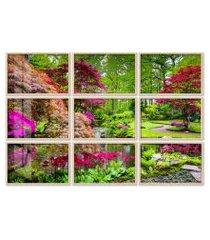 quadro 120x180cm painel jardim japônes em haia moldura natural com vidro
