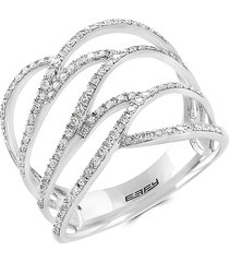 effy women's 14k white gold and diamond cage ring - size 7