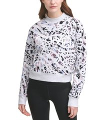 calvin klein performance animal-print active french terry sweatshirt