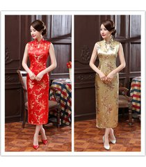 new style summer/spring chinese women's satin long cheongsam party dress s-