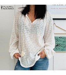 zanzea manga de linterna para mujer camisa con cuello en v ahuecada tops blusa lisa casual tallas grandes -blanco