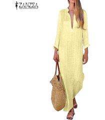 zanzea algodón de las mujeres étnico vestido maxi largo escotado sólido ocasional de cuerpo entero kaftan tops -amarillo
