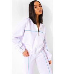 oversized jas met rits, white