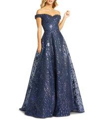 mac duggal embellished off-the-shoulder gown