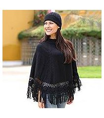 alpaca blend poncho and hat, 'black coffee' (peru)