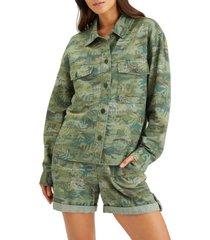 women's sanctuary crop shirt jacket, size x-large - green