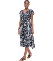 vestido azul-multicolor gap floral