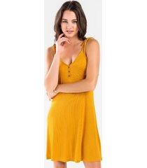 leah ribbed knit dress - mustard